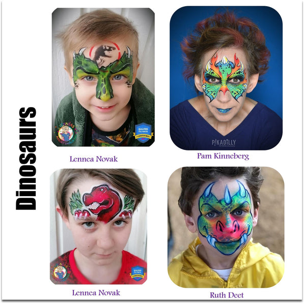 dinosuar face painting ideas halloween makeup dino