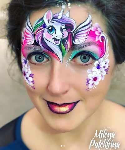 winking pony face painting Milena Face Artists Russia