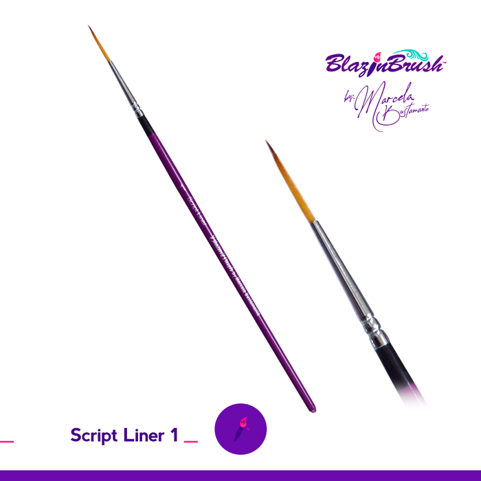 Limited Edition Blazin Face Painting Brush by Marcela Bustamante - Script Liner #1 LE - Jest Paint Store