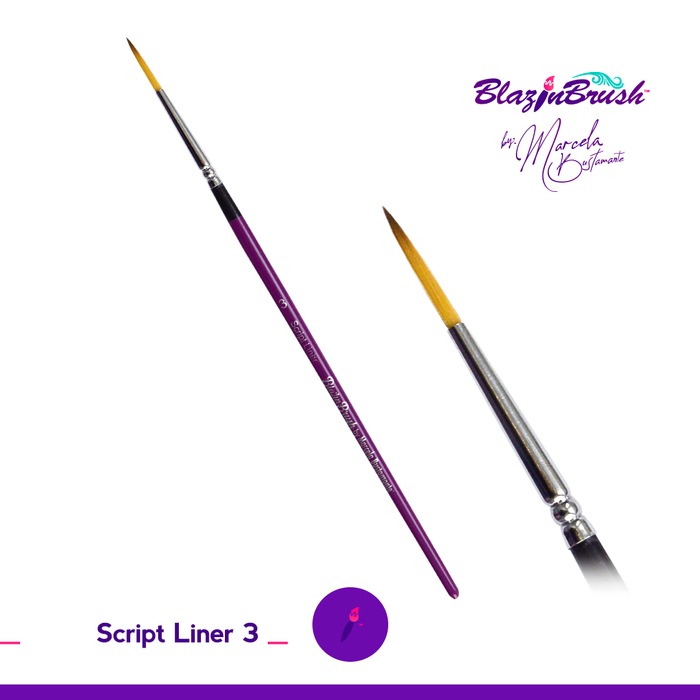 Blazin Face Painting Brush by Marcela Bustamante - Script Liner #3 (Golden Bristles)