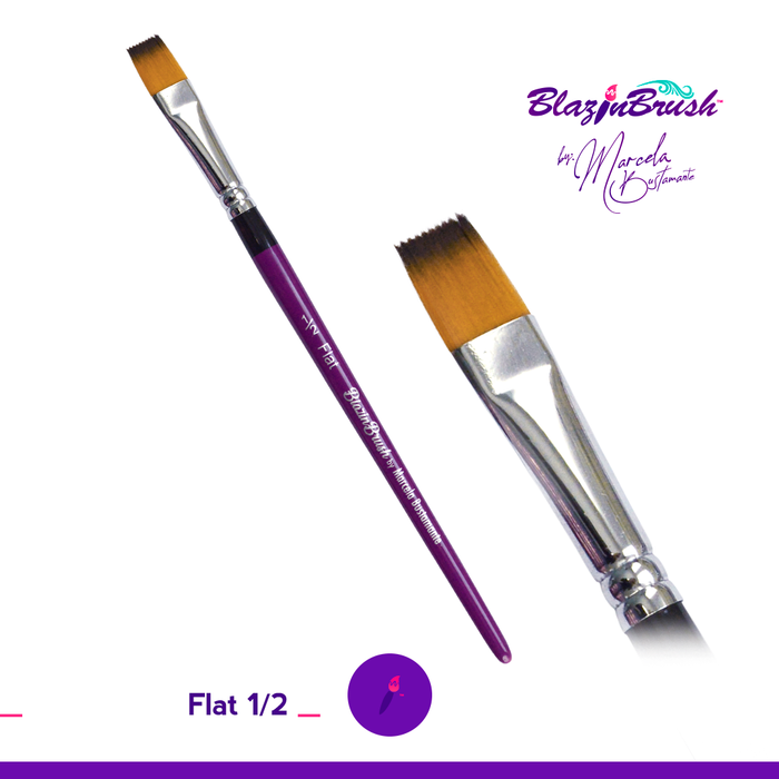 "Limited Edition Blazin Face Painting Brush by Marcela Bustamante - 1/2"" Flat LE - Jest Paint Store"