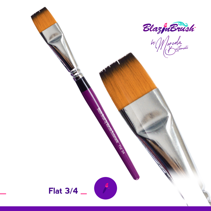 "Blazin Face Painting Brush by Marcela Bustamante - 3/4"" Flat - Jest Paint Store"