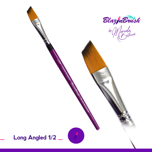 "Blazin Face Painting Brush by Marcela Bustamante - 1/2"" Long Angle"