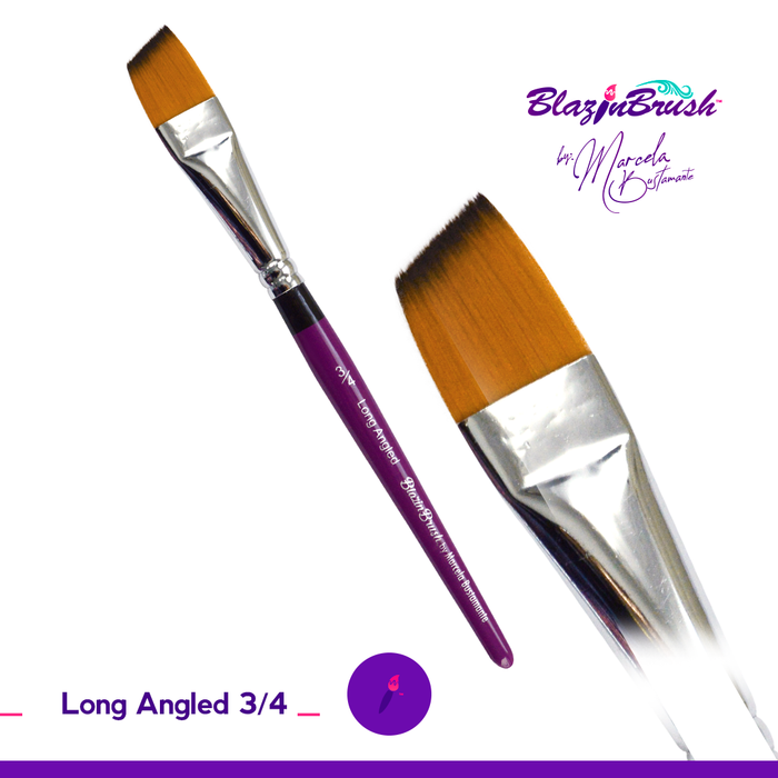 "Blazin Face Painting Brush by Marcela Bustamante - 3/4"" Long Angle"