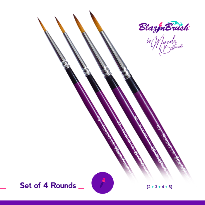 Limited Edition Blazin Face Painting Brush by Marcela Bustamante - Set of 4 Round Brushes - Jest Paint Store