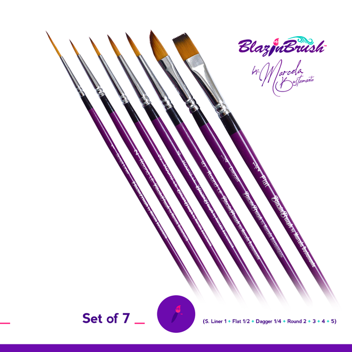 Limited Edition Blazin Face Painting Brush by Marcela Bustamante - Set of 7 Brushes