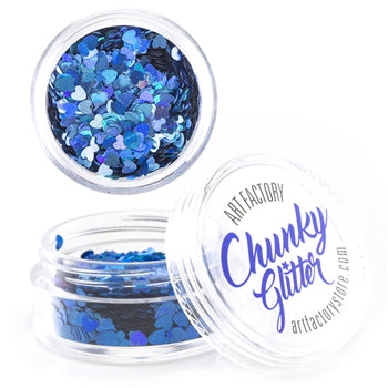 Art Factory | Loose Chunky Glitter - Blue Holographic Hearts (10ml jar) - Jest Paint Store