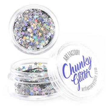 Art Factory | Loose Chunky Glitter - Silver Stars (10ml jar)