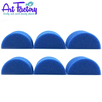 Art Factory | Blue High Density Face Painting Sponges - Half Circle (6 pieces) - Jest Paint Store