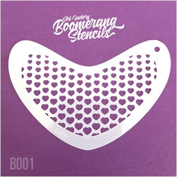 Art Factory | Boomerang Face Painting Stencil - Hearts (B001)