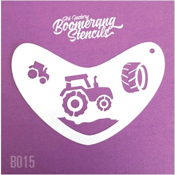 Art Factory | Boomerang Face Painting Stencil - Tractor (B015)