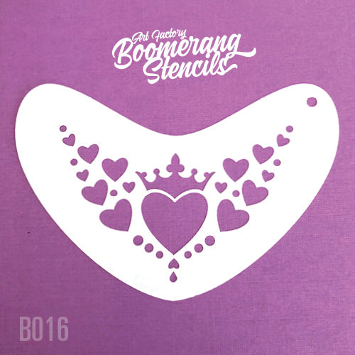 Art Factory - Boomerang Face Painting Stencil - Heart Crown