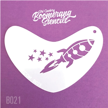 Art Factory | Boomerang Face Painting Stencil - Rocket (B021)