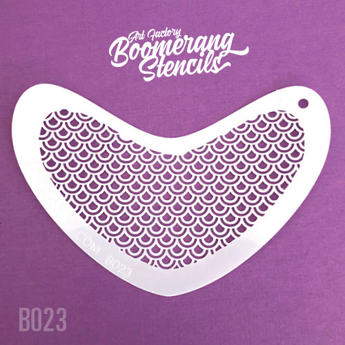Art Factory - Boomerang Face Painting Stencil - Peacock Scale Stencil