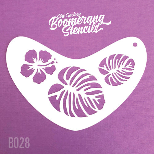 Art Factory - Boomerang Face Painting Stencil - Tropical Flower and Leaves (B028) - Jest Paint Store