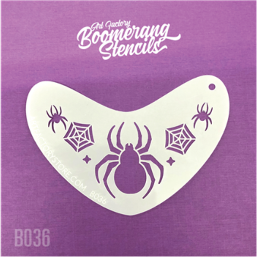 Art Factory | Boomerang Face Painting Stencil - Spider Crown (B036)