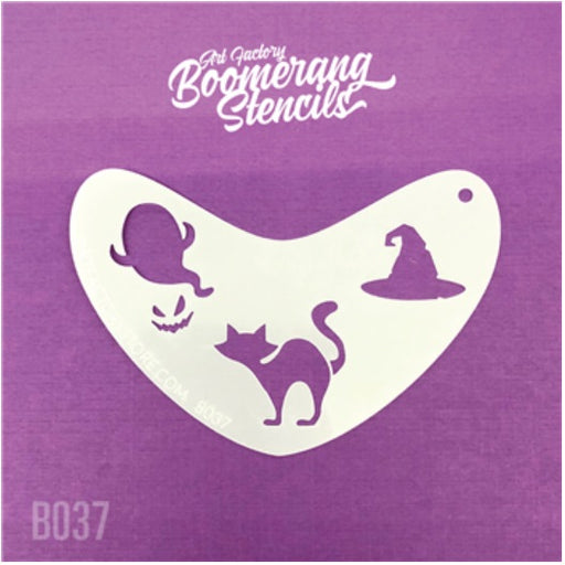 Art Factory | Boomerang Face Painting Stencil - Halloween Cat, Ghost & Witches Hat (B037)