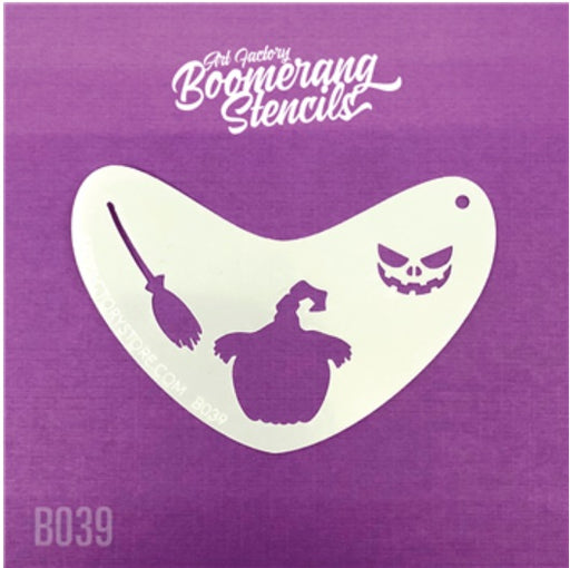 Art Factory | Boomerang Face Painting Stencil - Spooky Pumpkin w/ Witch Hat (B039) - jack-o-lantern