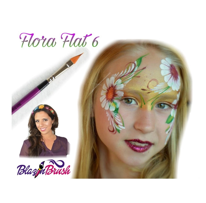 Blazin Face Painting Brush by Marcela Bustamante - Flat Pointy - Flora #6 - Jest Paint Store