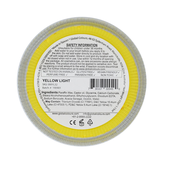 Global Body Art Face Paint - Standard Light Yellow 32gr