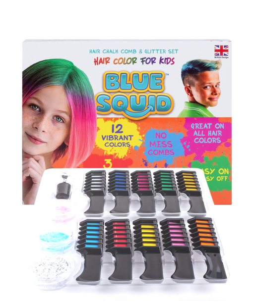 Blue Squid | Hair Chalk Comb and Glitter Set