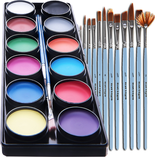 Blue Squid | KID'S Face Paint - 12 Color Classic Kit (12 X 10ml) + Art Brush Set - Jest Paint Store