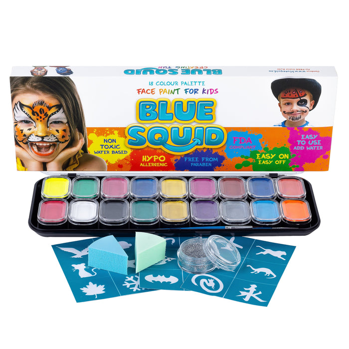 Blue Squid | KID'S Face Paint - LARGE 18 Color Classic Kit (18 X 10ml) - Jest Paint Store