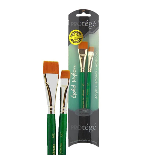 "Protege Face Painting Brush Set of 2- Gold Nylon 3/4"" and 1/2"" Flats (523VP) - Jest Paint Store"
