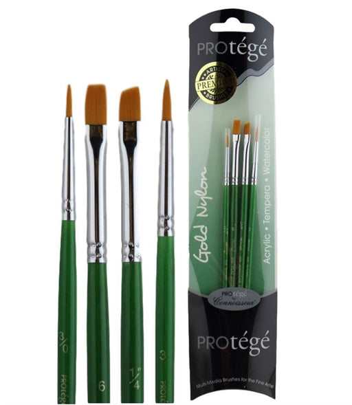 Protege 4 Piece Face Painting Brush Set - Gold Nylon Brushes (506VP) - Jest Paint Store