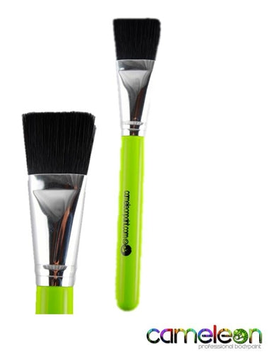"Cameleon Face Painting Brush - FLAT 1""  (short green handle) - Jest Paint Store"
