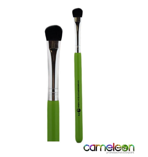 Cameleon Face Painting Brush - Medium Blender # 2  (short green handle) - Jest Paint Store