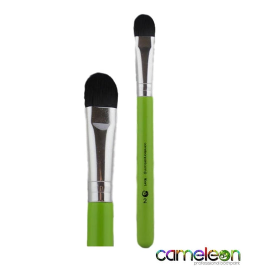 Cameleon Face Painting Brush - Medium Filbert # 2 (Short Green Handle) - Jest Paint Store