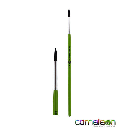 Cameleon Face Painting Brush - Liner #2 (long green handle)
