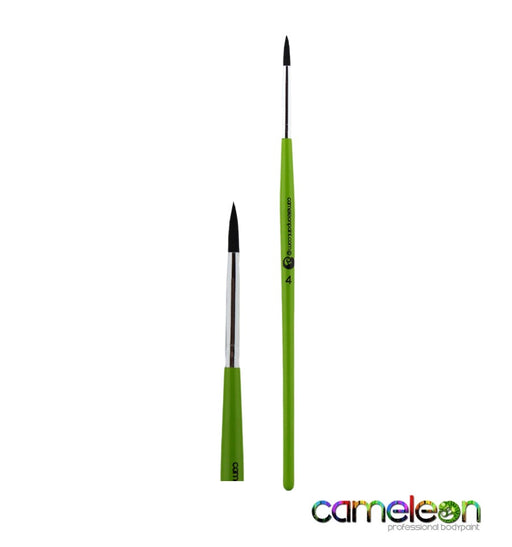 Cameleon Face Painting Brush - Liner #4 (long green handle)