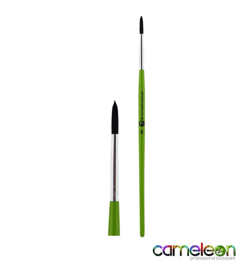 Cameleon Face Painting Brush - Liner #6 (long green handle)