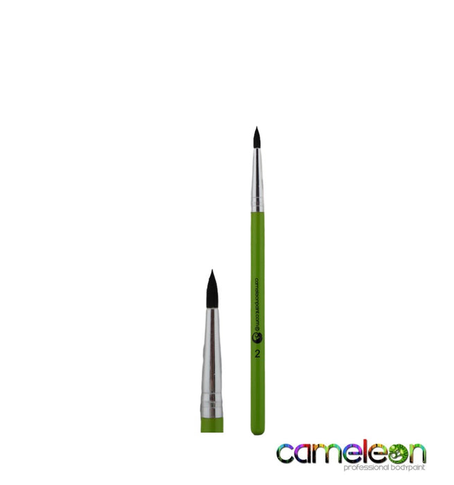 Cameleon Face Painting Brush - Round #2 (short green handle) - Jest Paint Store