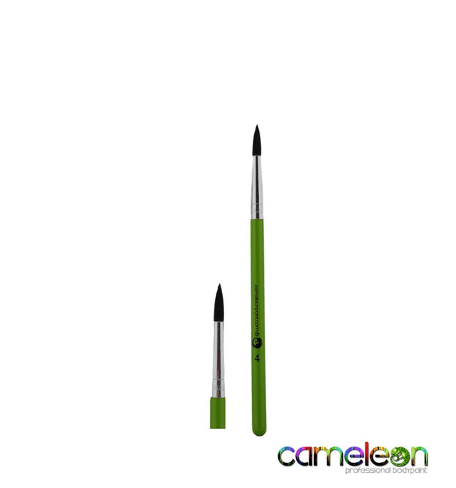 Cameleon Face Painting Brush - Round #4 (short green handle)