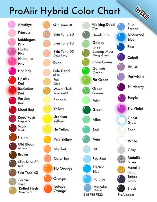 ProAiir Alcohol Based Hybrid Airbrush Body Paint Color Chart