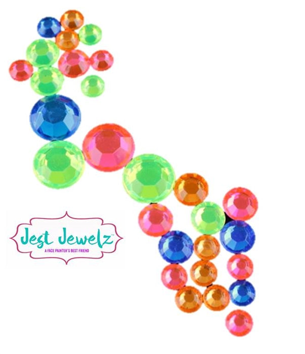 Jest Jewelz - Round Gems - Assorted NEON Colors & Sizes (Approx. 400 Pieces) - Jest Paint Store