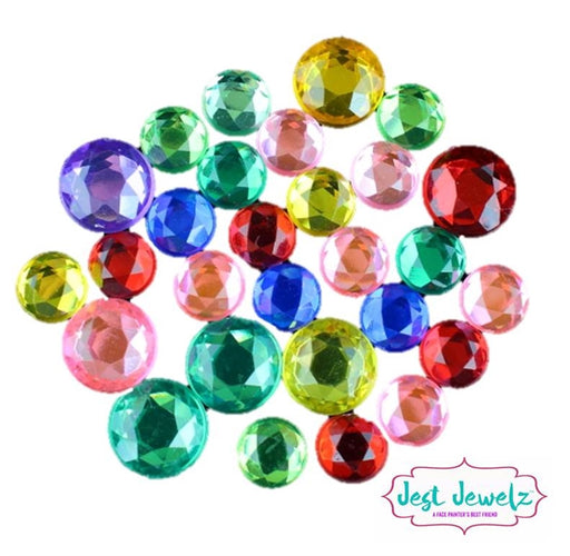 Jest Jewelz - Round Gems - Multicolored - (1/2 Cup - Approx. 400 Pieces) - Jest Paint Store