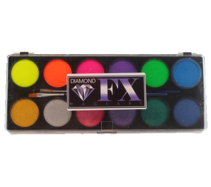 Diamond FX Paint - Large 12 Color Neon / Metallic Palette - Jest Paint Store