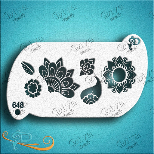 Diva Stencils | Face Painting Stencil | Forehead Henna Bits (00648) - Jest Paint Store