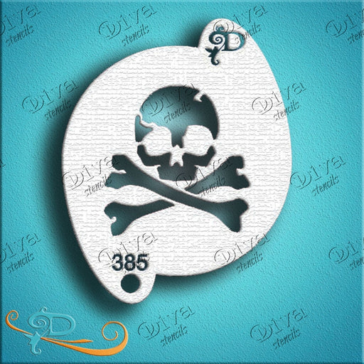 Diva Stencils | Face Painting Stencil | Pirate Skull and Crossbones (00385) - Jest Paint Store