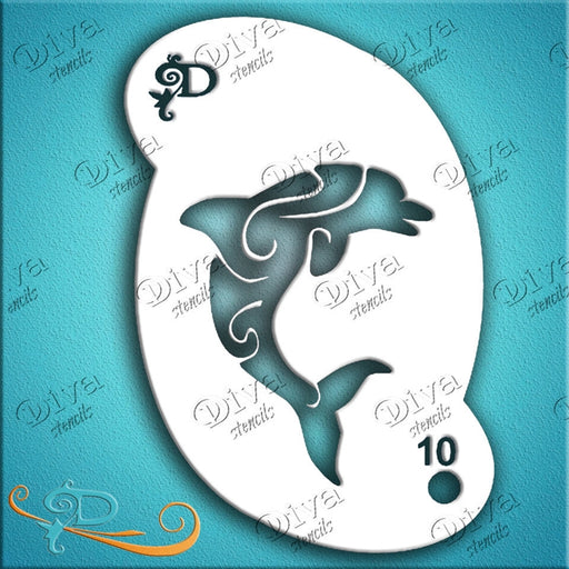 Diva Stencils | Face Painting Stencil | Dolphin Swirl (00010) - Jest Paint Store
