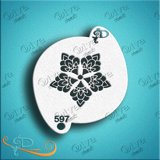 Diva Stencils | Face Painting Stencil | Henna Snowflake Star (597) - Jest Paint Store