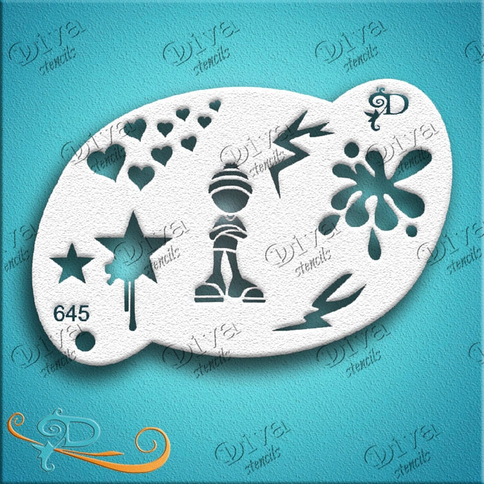 Diva Stencils | Face Painting Stencil | Tamina Graffiti Collage (645) - Jest Paint Store