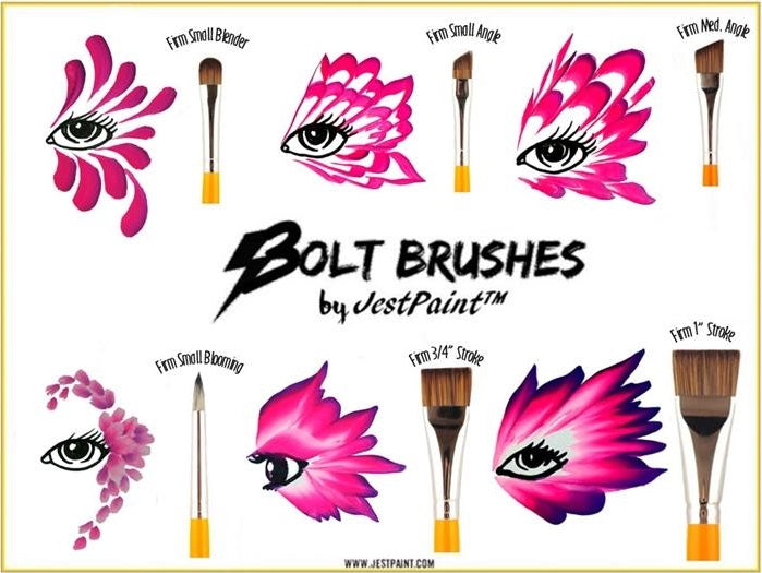BOLT Face Painting Brushes by Jest Paint - comparison sheet