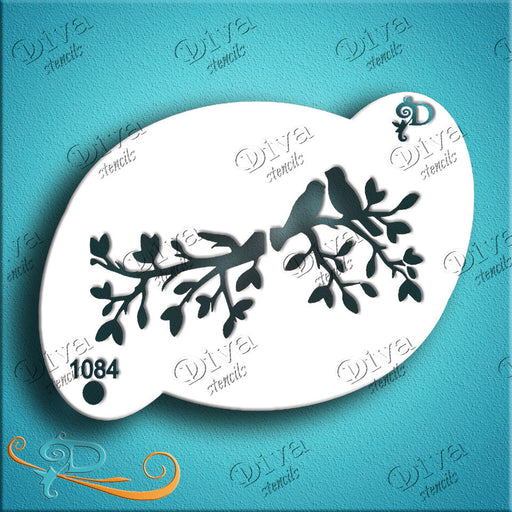Diva Stencils | Face Painting Stencil | Birds and Branches (1084) - Jest Paint Store