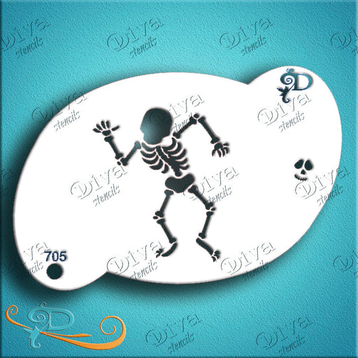 Diva Stencils | Face Painting Stencil | Dancing Skeleton (705) - halloween