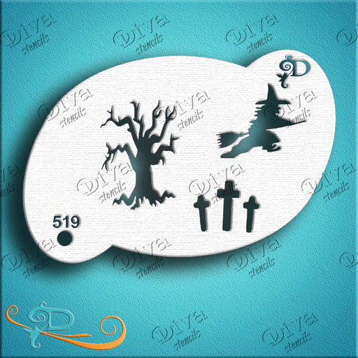 Diva Stencils | Face Painting Stencil | Tree Witch (519)